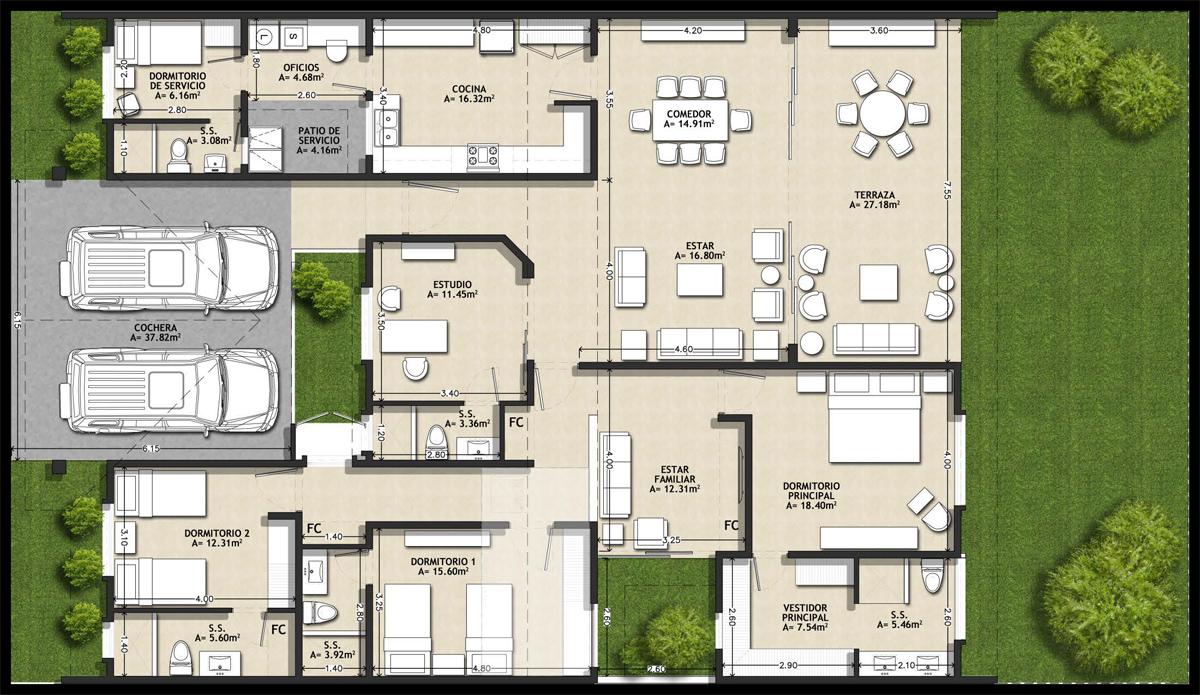 Planos puerta la palma for Planos de casas 1 planta
